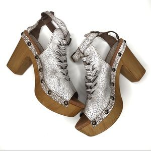 NEW Sbicca White Cracked Leather Studded Clog Heel
